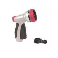7-PATTERN PUSH-BUTTON NOZZLE WITH TRIGGER LOCK  AND WATER FLOW CONTROL KNOB(METAL VERSION)